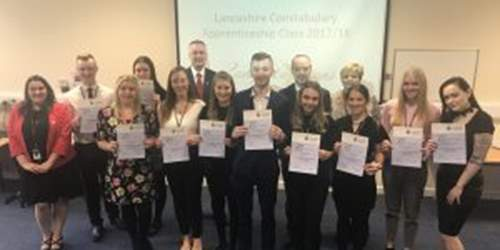 Commissioner visits Lancashire Police apprentices to celebrate National Apprenticeship Week